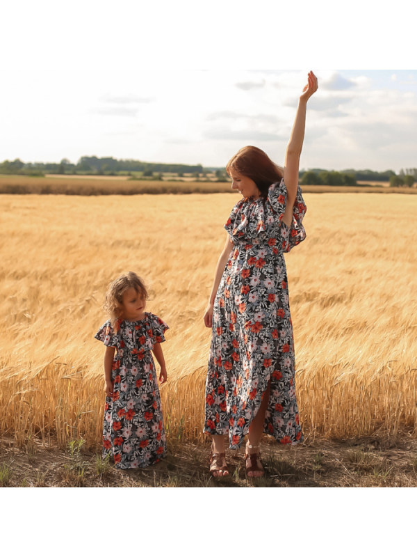 Floral Style Strapless Mom Girl Matching Dress - 1353