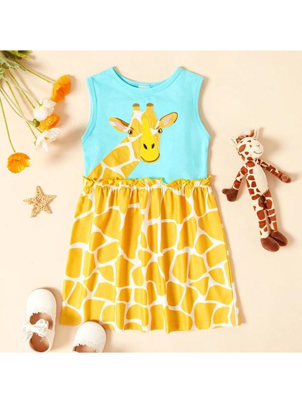 【18M-9Y】Girls' Hit Color Stitching Cartoon Print Dress