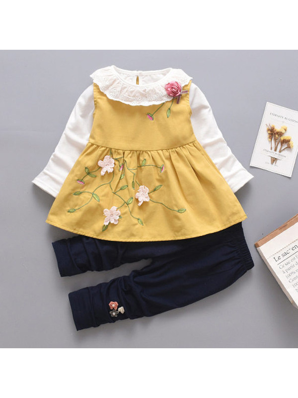 【12M-4Y】Girl Sweet Flower Embroidery T-Shirt Skirt Pant Set