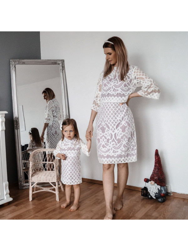 Sexy White Floral Lace Mom Girl Matching Dress - 1301