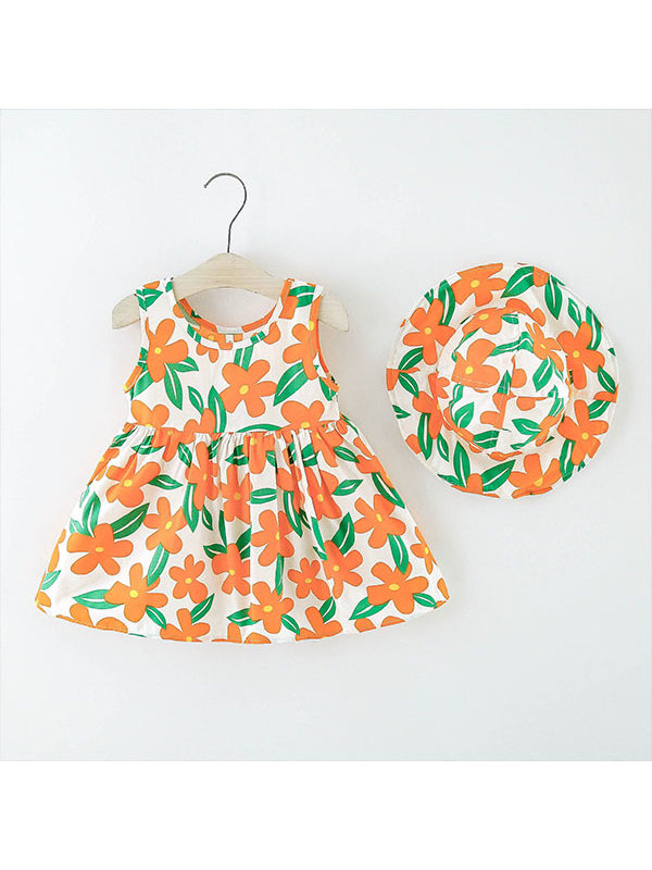 【12M-4Y】Girls Casual Color Flower Print Vest Skirt with Hat