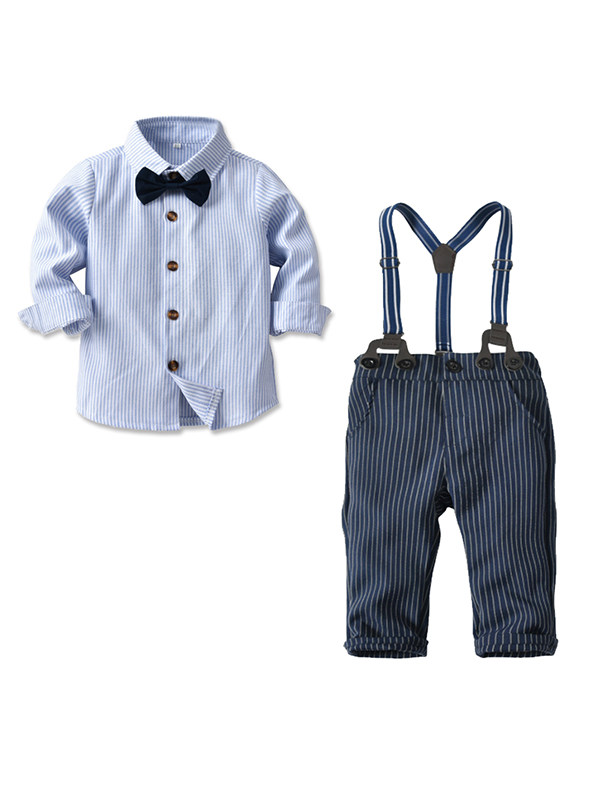 【12M-4Y】Boy's Long-sleeved Blue Striped Bow Tie Shirt Four-piece Suit