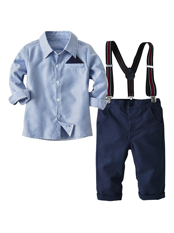 【18M-9Y】Boy's Two-piece Long-sleeved Shirt And Trousers