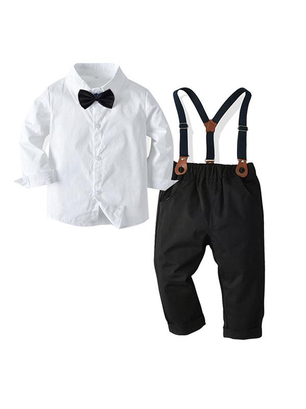 【12M-9Y】 Boy Gentleman Bow Tie White Shirt Overalls Four-piece Suit