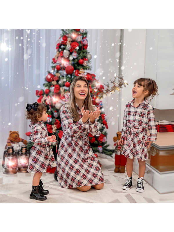 Long Sleeve Coller Plaid Mom Girl Matching Dress
