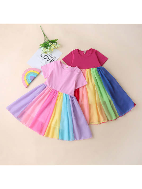 【18M-9Y】Rainbow Chiffon Short Sleeve Dress