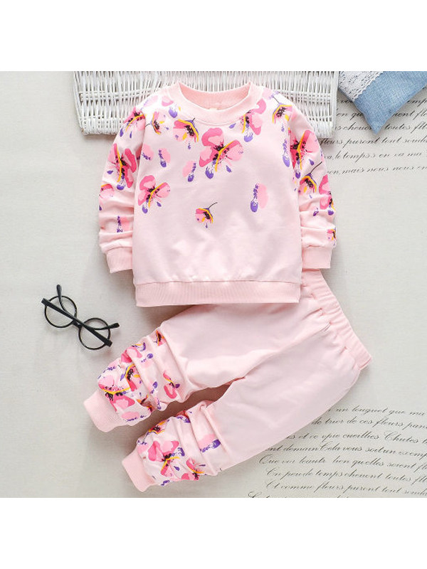 【18M-7Y】Girls Floral Print Long Sleeve Two-piece Suit