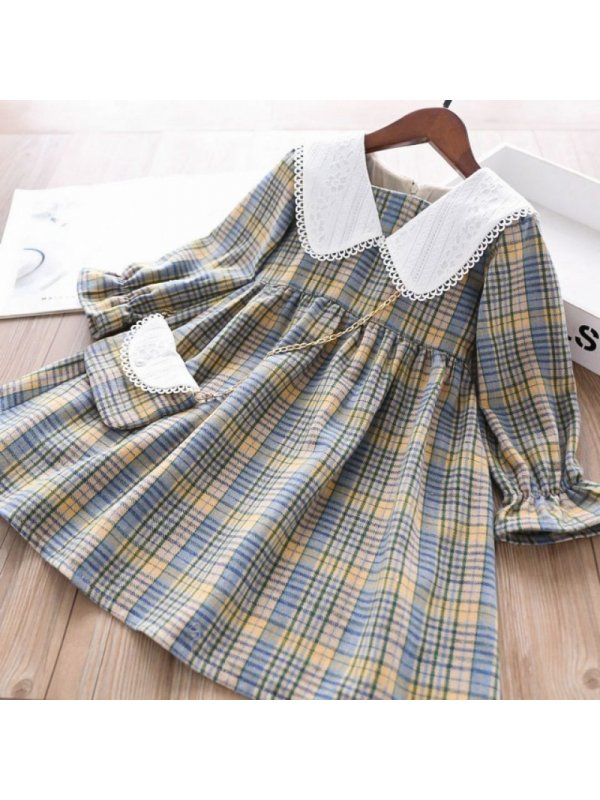 【18M-7Y】Sweet White Lace Collar Yellow Plaid Dress