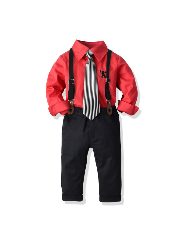【18M-7Y】Boy's Long-sleeved Shirt Bib Two-piece Suit