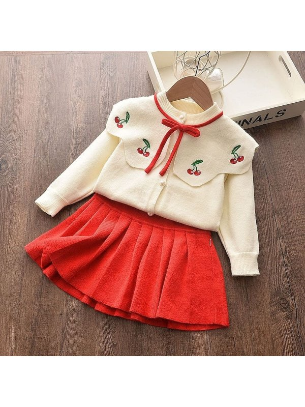 【18M-7Y】Girls Sweet Cardigan Pleated Skirt Two-piece Suit