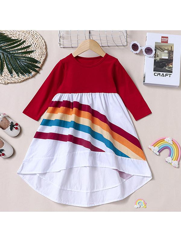 【18M-7Y】Girls Long-sleeved Color-blocking Irregular Rainbow Dress