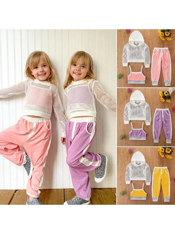 【3Y-11Y】Girls Mesh Long-sleeved Sweater Suspenders Sweatpants Suit - 3475