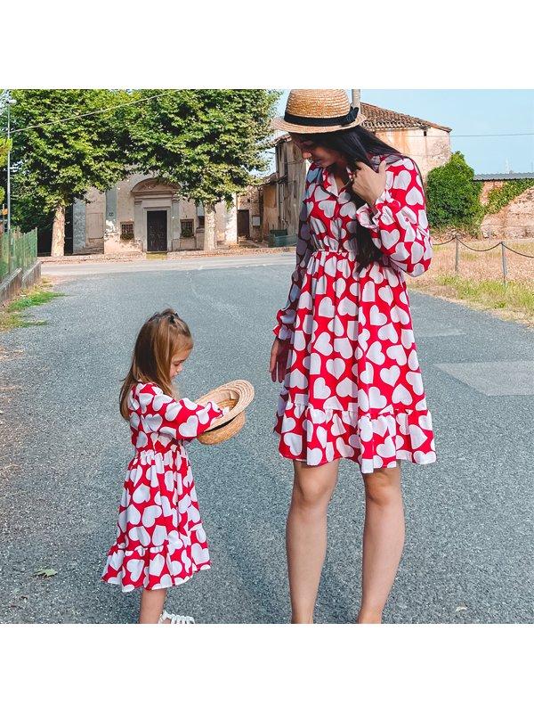Elegant Band Collar Long Sleeve Heart Print Red Momr Girl Matching Dress - 1370