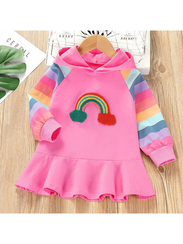 【18M-9Y】Girls Rainbow Pattern Hooded Long Sleeve Dress