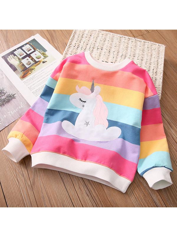【18M-7Y】Girls Rainbow Cartoon Print Pullover Sweatshirt