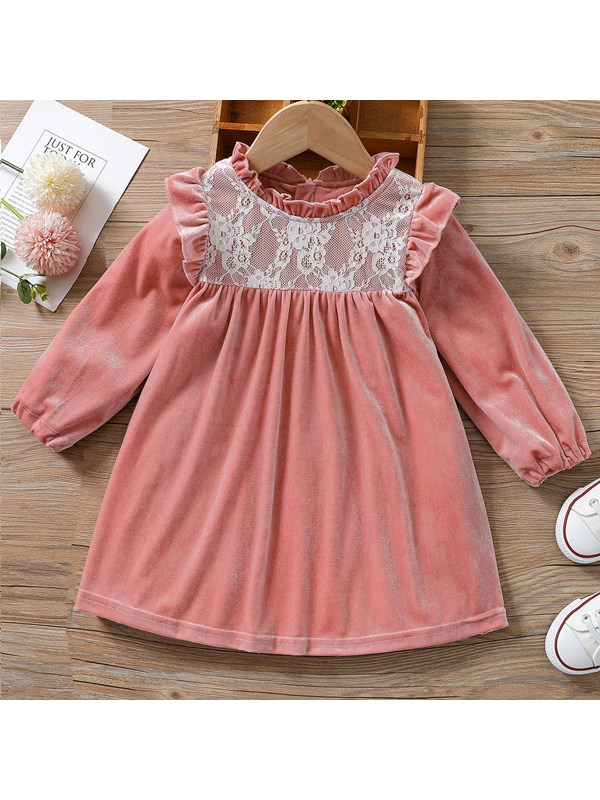 【18M-7Y】Sweet Lace Stitching Long-sleeved Velvet Dress