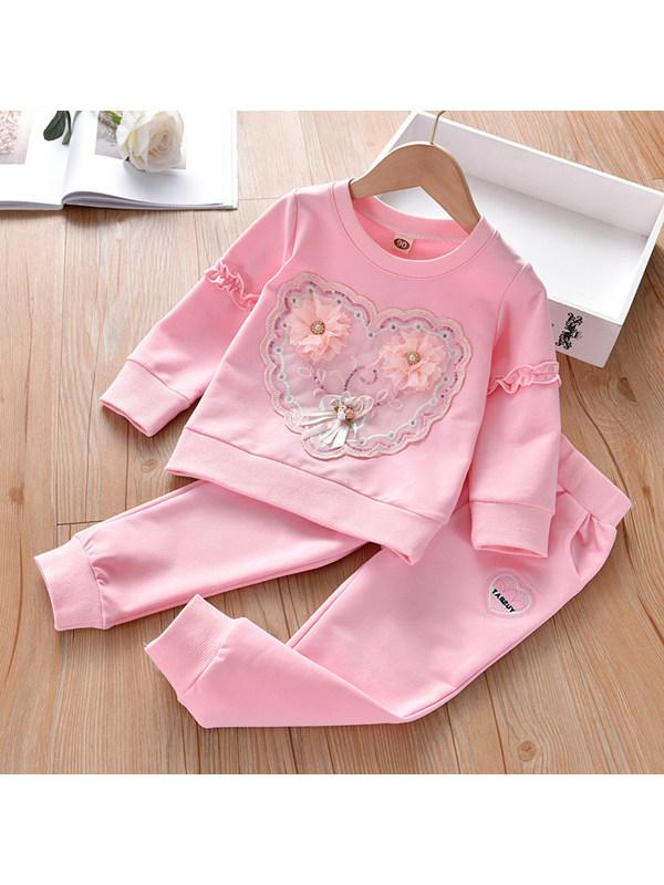 【18M-7Y】Heart Lace Applique Pink Long Sleeve Sweatshirt Set