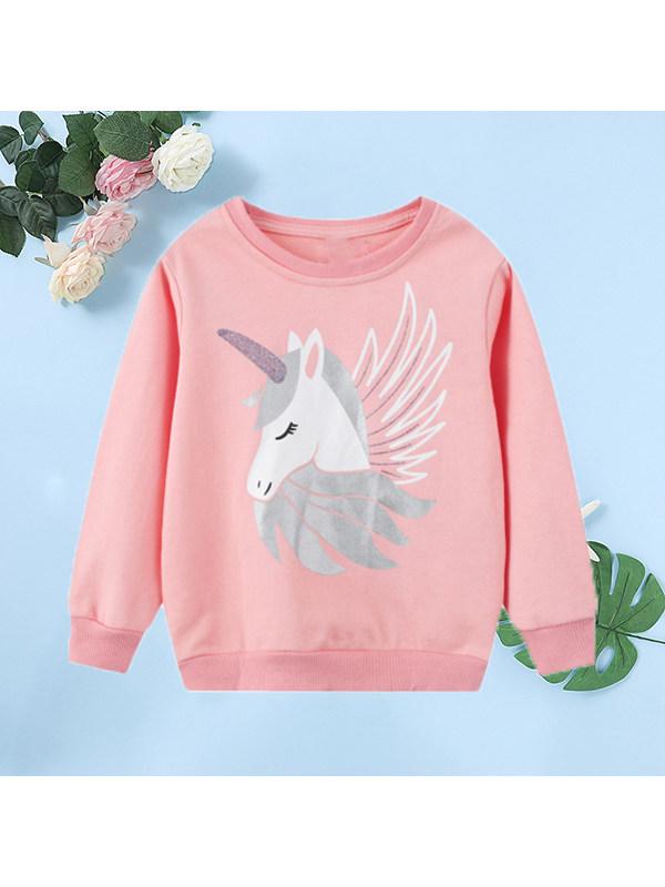 【18M-9Y】Girls Cartoon Print Long-sleeved Sweatshirt