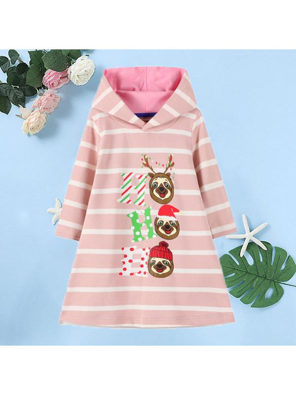 【18M-9Y】Girls Christmas Striped Hooded Long Sleeve Dress