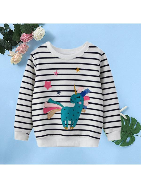 【18M-9Y】Girls Cartoon Print Knitted Long-sleeved Sweatshirt