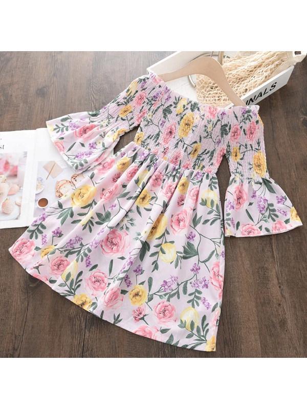 【2Y-9Y】Girl Sweet Pink Floral Chiffon Flared Sleeve Dress