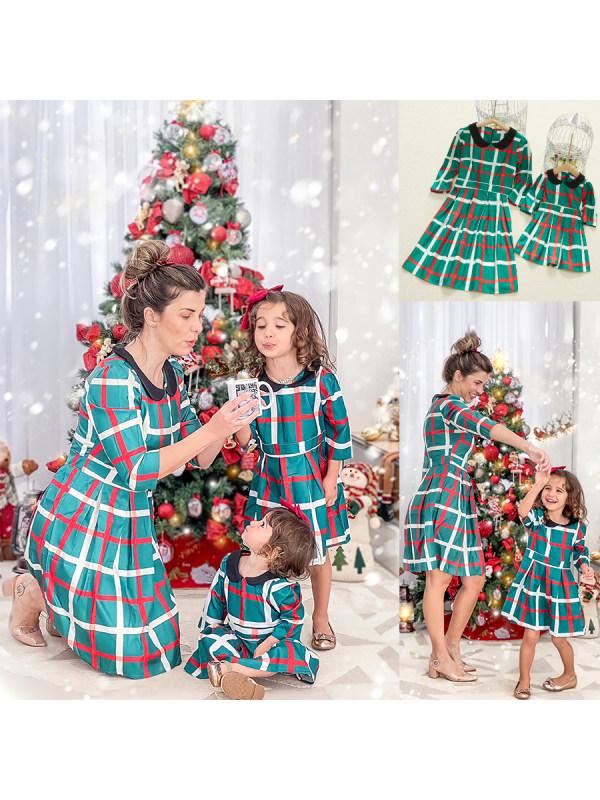 Fashion Long Sleeve Green Plaid Mom Girl Matching Dress