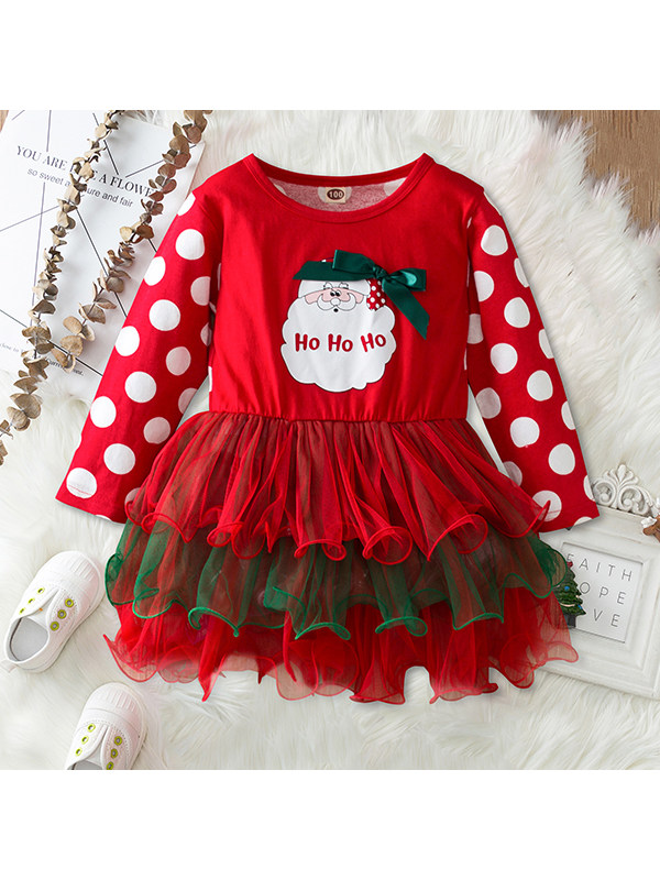 【18M-7Y】Girls Christmas Snowman Printed Long Sleeve Tulle Dress