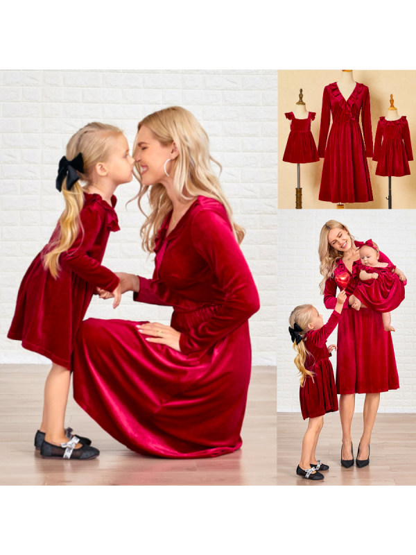 Red Velvet Mom Girl Matching Dress - 1321
