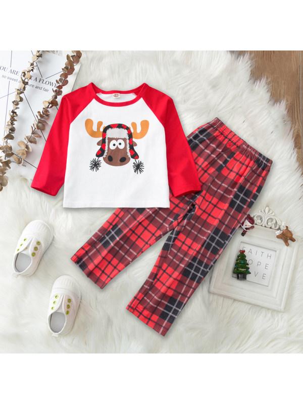 【18M-7Y】Girls Christmas Elk Print Long Sleeve T-shirt And Plaid Pants Set