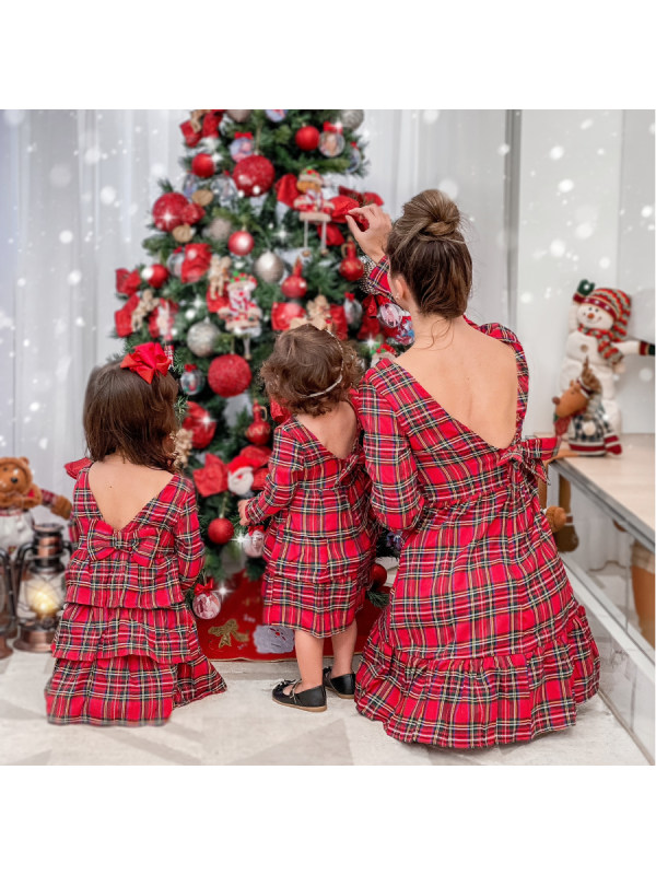 Round Neck Long Sleeve Red Plaid Backless Mom Girl Matching Dress