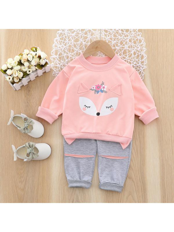 【12M-4Y】Girls Sweet Fox Pattern Sweatshirt Pants Set