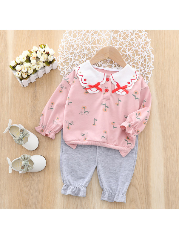 【12M-4Y】Girls Sweet Floral Pattern Sweatshirt Pants Set