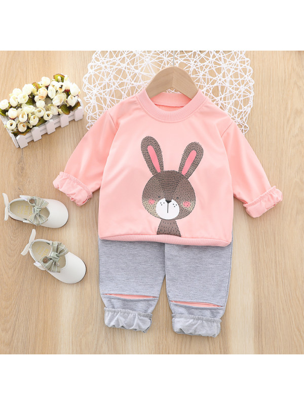 【12M-4Y】Girls Sweet Bunny Pattern Sweatshirt Pants Set