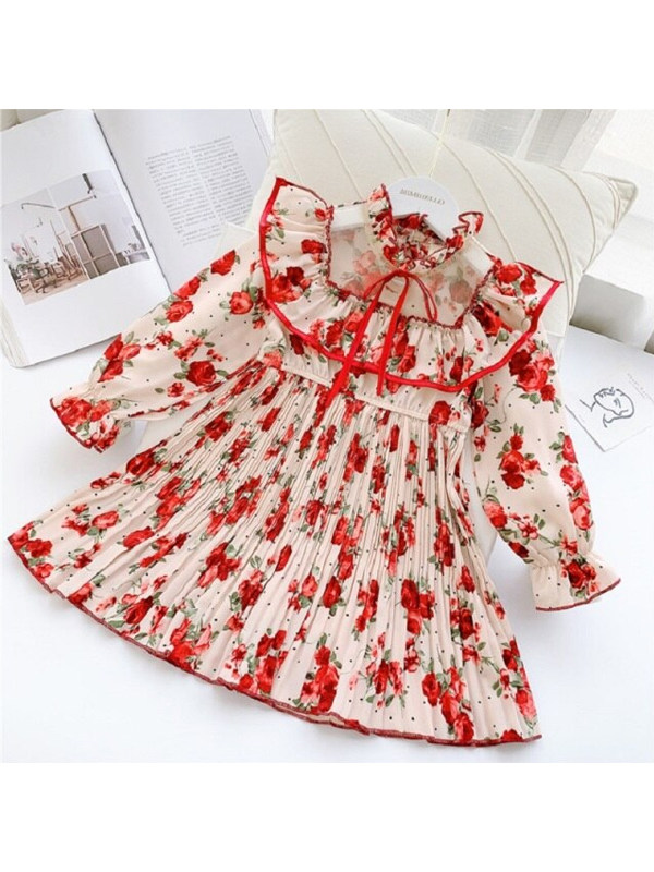 【3Y-13Y】Girls Floral Print Stand-up Collar Ruffled Long Sleeve Dress