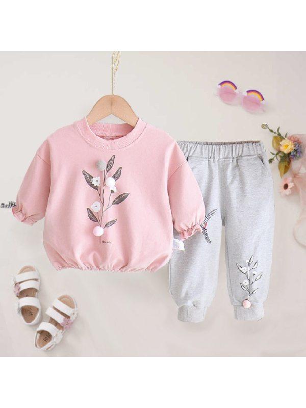 【12M-4Y】Girls Sweet Leaf Pattern Sweatshirt Pants Set