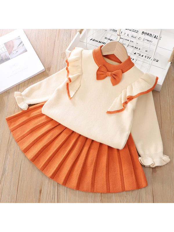 【18M-7Y】Girls Flying Sleeve Bow Top Pleated Skirt Set