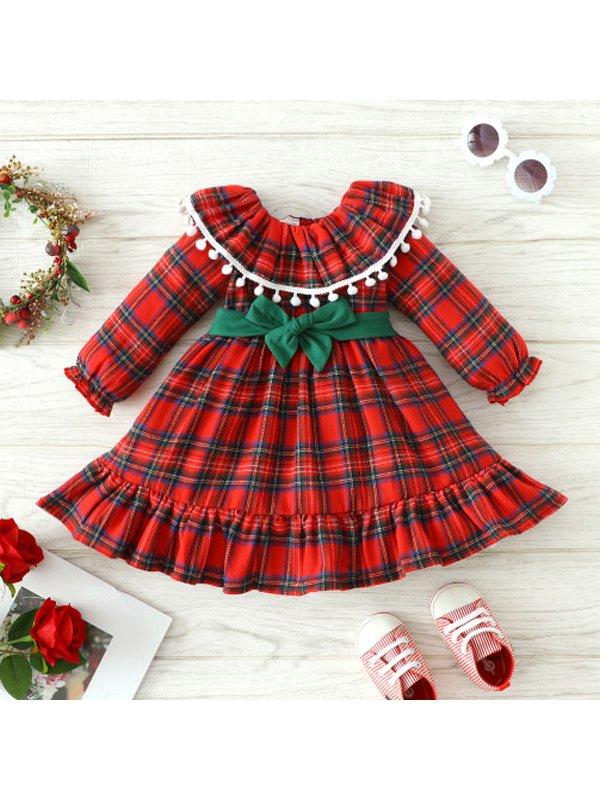 【3M-3Y】Girls Long-sleeved Plaid Fur Ball Dress