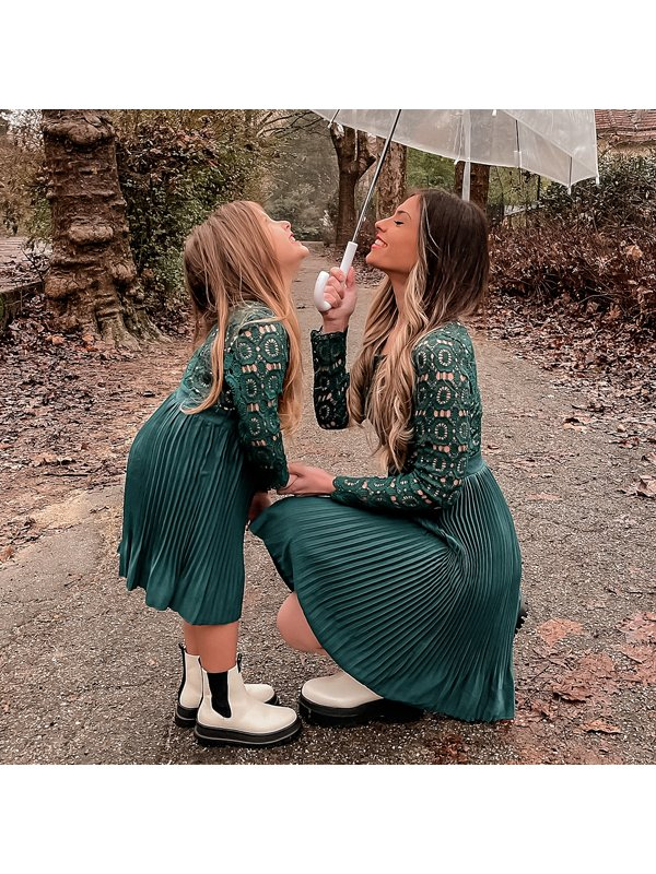Fashion Hollow Out Printed Long Sleeve Mom Girl Matching Dress