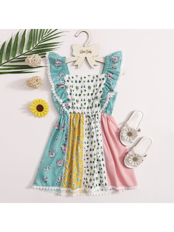 【18M-7Y】Girls Sweet Floral Color Block Ruffle Dress