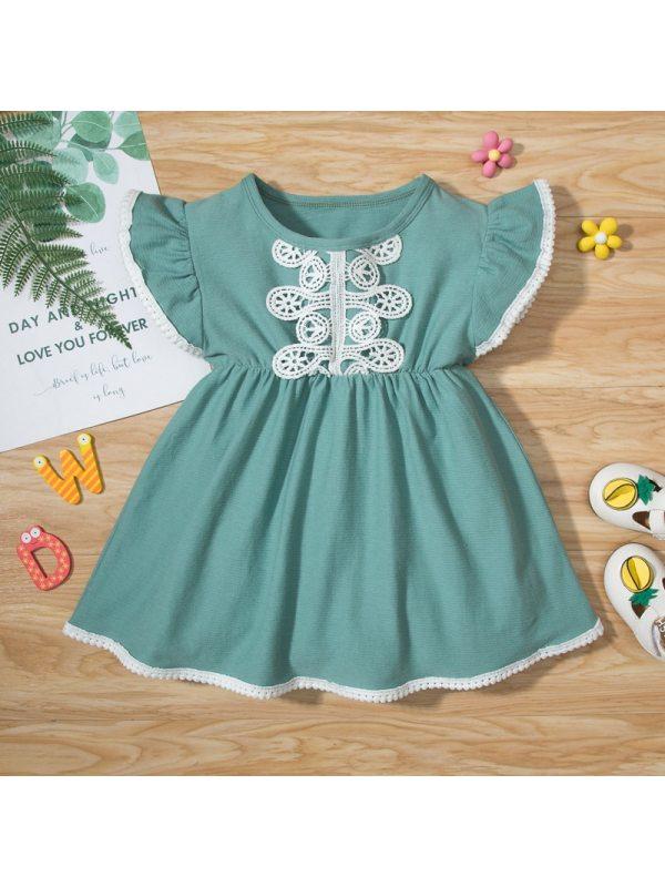 【3M-18M】Baby Girl Green Lace Ruffled Short Sleeve Dress