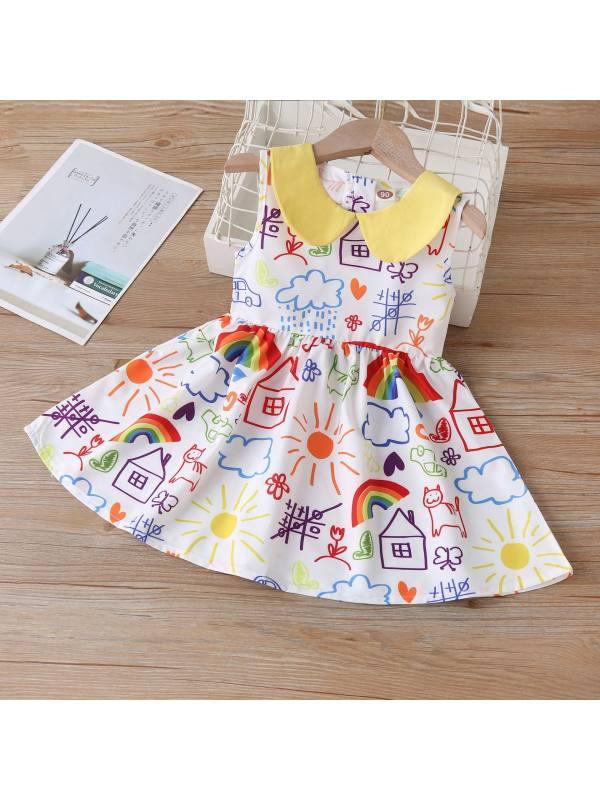 【18M-7Y】Cute Cartoon Print Sleeveless Dress - 3363
