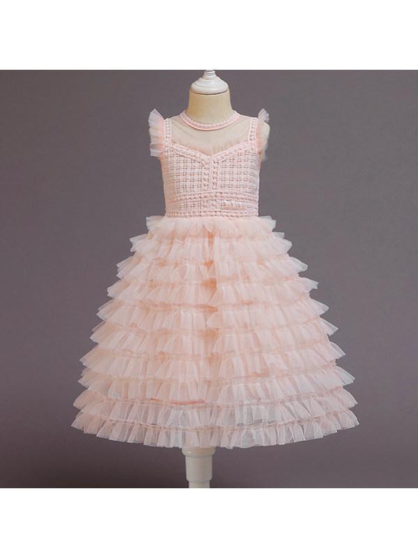 【2Y-9Y】Sweet Round Neck Sleeveless Mesh Princess Dress