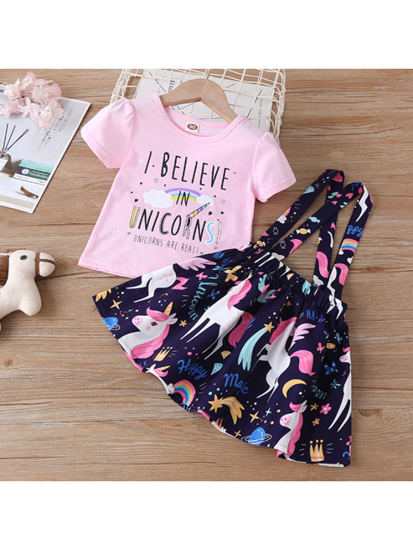 【18M-7Y】Cute Letter Printed T-shirt and Unicorn Skirt Set - 3446