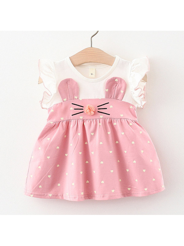 【3M-24M】Cute Cartoon Print Round Neck Short Sleeve Dress