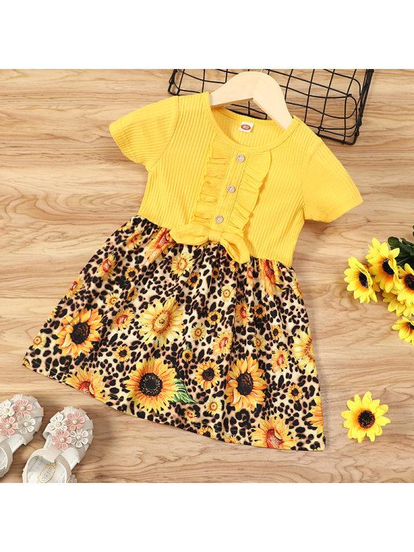【12M-5Y】Sweet Flower Print Round Neck Short Sleeve Yellow Dress