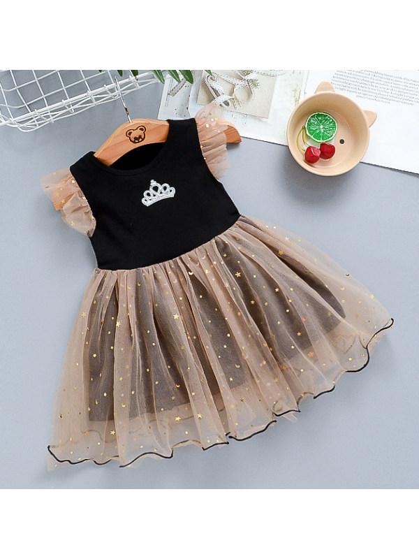 【12M-5Y】Sweet Crown Round Neck Mesh Dress