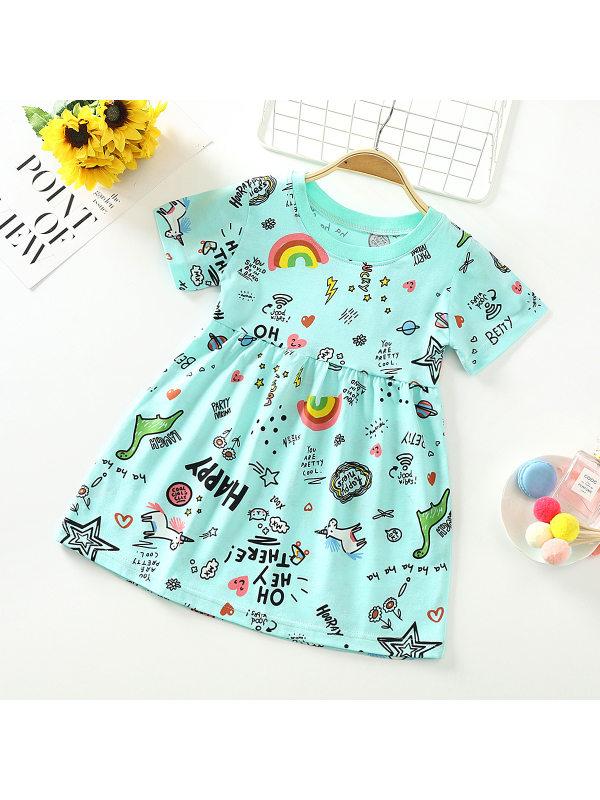 【18M-9Y】Cute Cartoon Print Round Neck Short Sleeve Dress