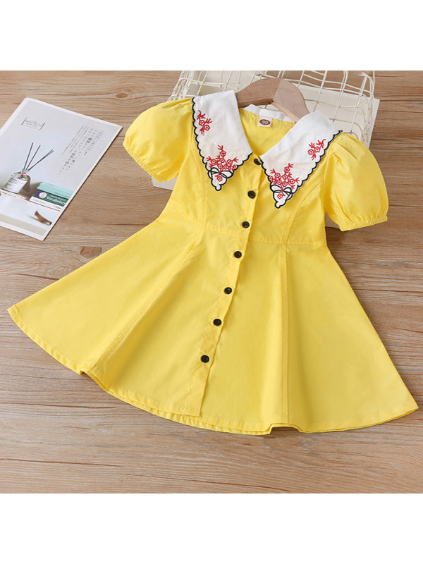 【18M-7Y】Sweet Floral Embroidered Collar Yellow Short Sleeve Dress