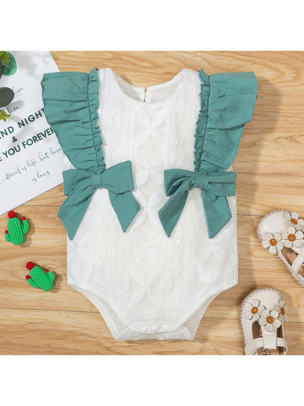 【3M-18M】Baby Girl White Lace Bow Romper
