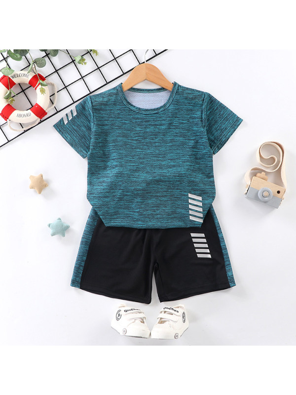 【18M-13Y】Casual Sports Round Neck Short Sleeve T-shirt Set